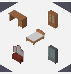 Isometric design set of drawer bedstead table vector
