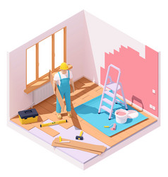 isometric home renovation vector image