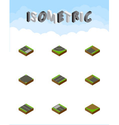 Isometric road set of unfinished crossroad flat vector