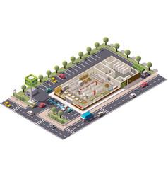 Isometric supermarket cutaway vector