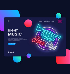 jazz club concept banner jazz music neon sign vector image
