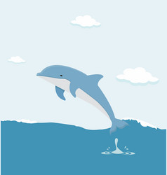 jumping dolphin in the sea vector image
