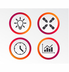 lamp idea and clock time graph chart diagram vector image