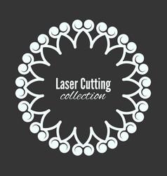 Laser flower cut the template frame floral vector