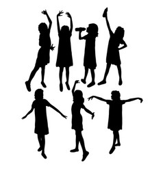 little girl activity silhouettes vector image
