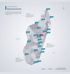Madagascar map with infographic elements pointer vector
