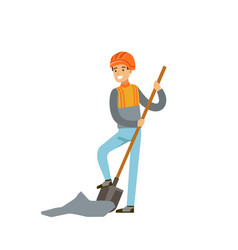 male miner in uniform digging with shovel vector image
