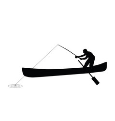 Man silhouette fishing vector