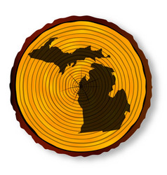 Michigan map on timber vector