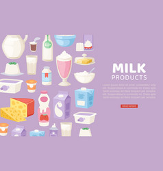 milk and diary healthy products banner with vector image