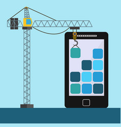Mobile app design with crane lifting building vector