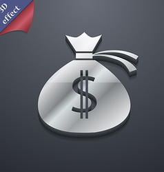 Money bag icon symbol 3D style Trendy modern vector image