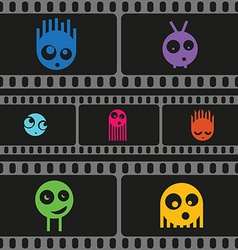 Monsters and film strip seamless pattern vector image