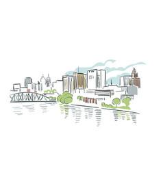 Newark new jersey usa america sketch city line art vector