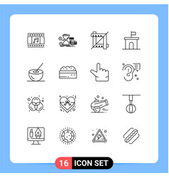 Pack 16 creative outlines bowl mario coins vector
