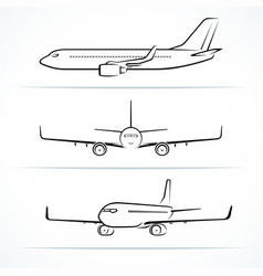 passenger airplane silhouettes contours outlines vector image