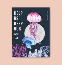 Poster design with jellyfish with coral blue vector