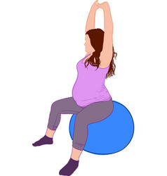 Pregant yoga ball vector