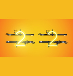 Realistic glowing yellow neon charcter on and off vector