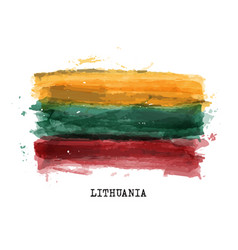 Realistic watercolor painting flag lithuania vector