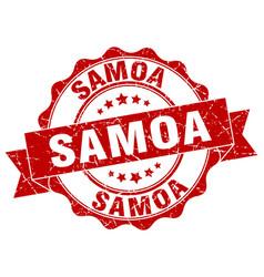 Samoa round ribbon seal vector
