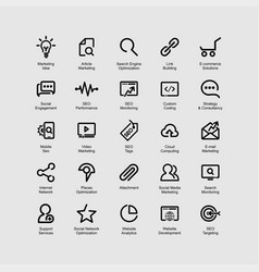 Seo line icons set vector