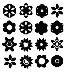 Set of cartoon floral silhouettes isolated on vector