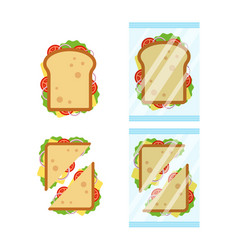 Set of sandwiches top view with tomato onion vector