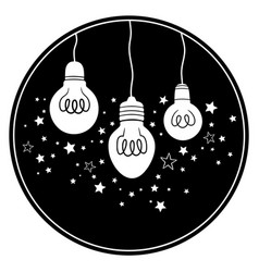 set three holiday light bulbs vector image