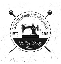 sewing machine emblem label badge or logo vector image