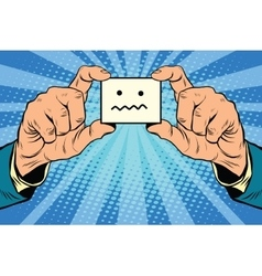 Silence Smiley face in hands vector