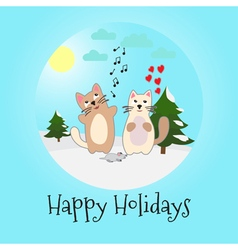 Singing cats and mouse happy holidays vector