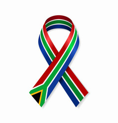 South african flag stripe ribbon on white vector