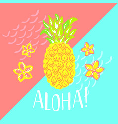 summer poster with pineapple and hand-lettering vector image