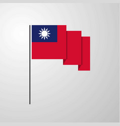 taiwan waving flag creative background vector image