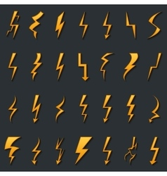 Thunder lightning bolt pictogram icons set design vector image