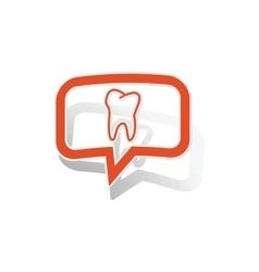 Tooth message sticker orange vector