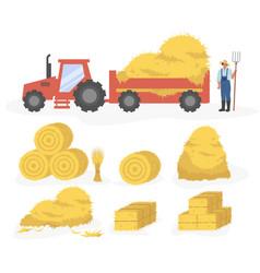 Tractor with hay cartoon set vector