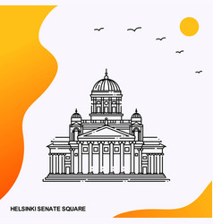 Travel helsinki senate square poster template vector