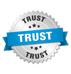 Trust round isolated silver badge vector