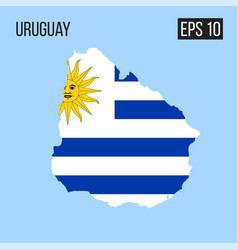uruguay map border with flag eps10 vector image