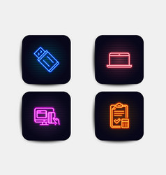 Usb flash laptop and online payment icons vector