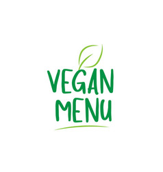 vegan menu green word text with leaf icon logo vector image