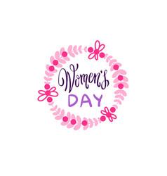 vintage badge happy women day concept pink vector image