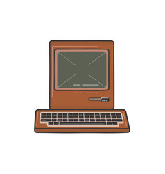 Vintage hand drawn personal computer with keyboard vector