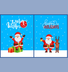 warm wishes and happy holidays postcard with santa vector image