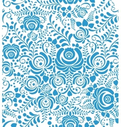 White and blue seamless pattern in Russian style vector image