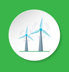 wind turbine icon in flat style on round button vector image