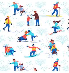winter park pattern seamless texture cartoon vector image