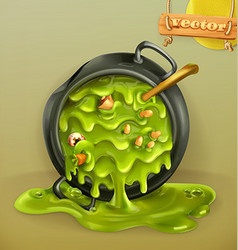Witch Kitchen Pot with a potion Halloween 3d icon vector